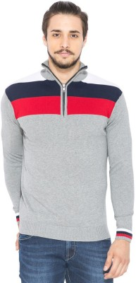 Status Quo Striped Turtle Neck Casual Men's Multicolor Sweater