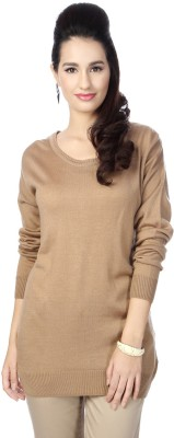 Allen Solly Solid Round Neck Casual Women's Brown Sweater
