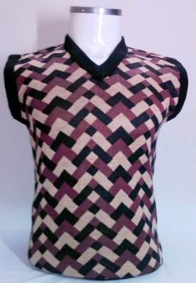 ADK Striped V-neck Casual Women's Multicolor Sweater