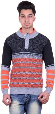 Urban Street Striped, Geometric Print Turtle Neck Casual, Party Men's Grey Sweater