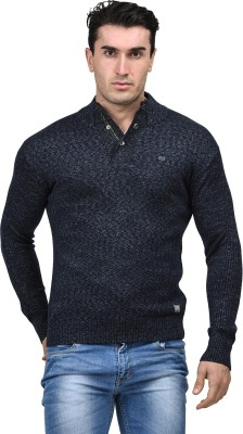 Mettle Solid Turtle Neck Men's Dark Blue Sweater