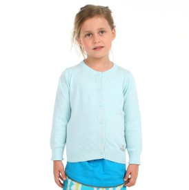Cherry Crumble California Solid Round Neck Casual Girls Blue Sweater