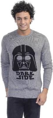 Star Wars Printed Round Neck Casual Men's Grey Sweater