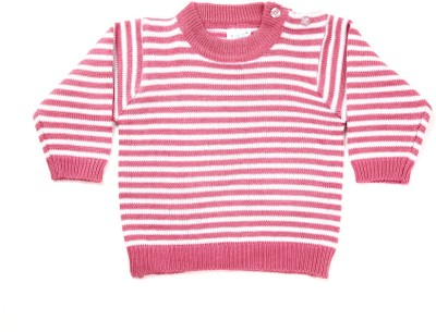 Zonko Style Striped Round Neck Casual Boy's Pink, White Sweater