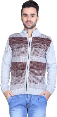 BRAVEZI Self Design Round Neck Casual Men,s Grey, Maroon Sweater