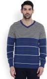 Parx Striped V-neck Casual Men Dark Blue...