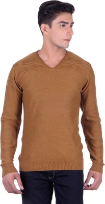 Deutz Solid V-neck Casual Men's Brown Sweater