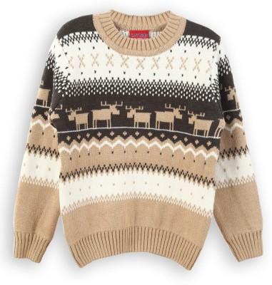 Lilliput Self Design Round Neck Boy's Beige Sweater
