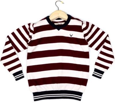 Allen Solly Striped V-neck Boy's Maroon Sweater