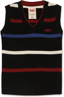 Levi's Striped V-neck Casual Girl's Black Sweater