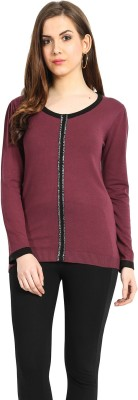 Northern Lights Solid Round Neck Casual Women's Maroon Sweater