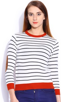 Mast & Harbour Striped Round Neck Casual Women,s White Sweater