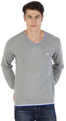 Fila Striped V-neck Sports Men's Grey, White, Blue Sweater