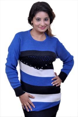 Laadli Ji Striped Round Neck Women,s Blue Sweater