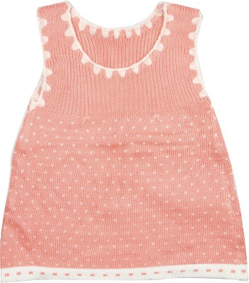 Camey Solid Round Neck Casual Baby Girl's Pink Sweater