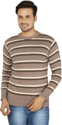Fizzaro Striped Round Neck Casual Men's Brown, Beige Sweater