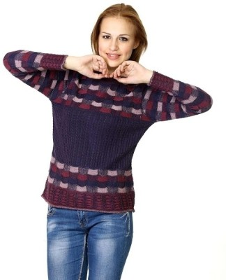 Miss Grace Checkered Turtle Neck Casual Women's Purple Sweater
