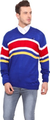 Mode Vetements Striped V-neck Casual Men's Multicolor Sweater