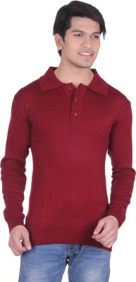 Vivid Bharti Solid V-neck Casual, Party, Formal, Lounge Wear Men's Maroon Sweater