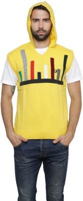 Leebonee Geometric Print V-neck Casual Men's Yellow Sweater