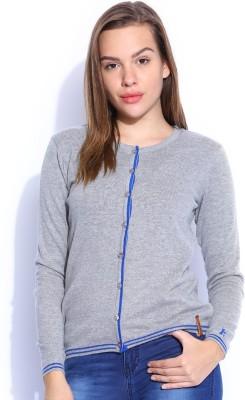 Harvard Solid Round Neck Women,s Grey Sweater