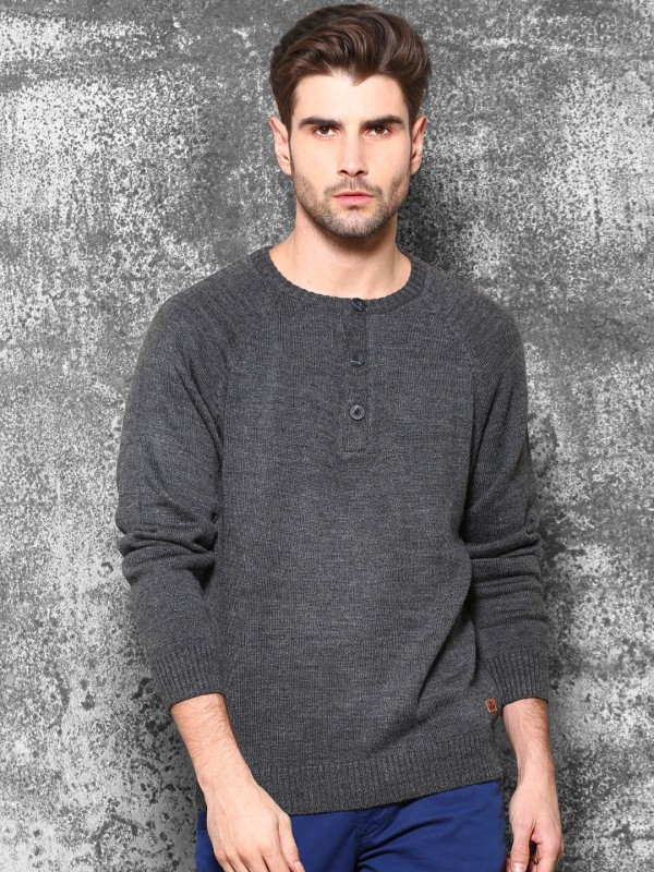 WROGN Solid Round Neck Casual Men Grey Sweater