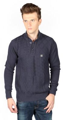 Again Self Design Turtle Neck Casual Men's Blue Sweater