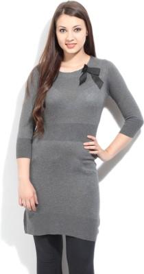 Arrow Solid Casual Women's Grey Sweater