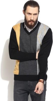 COBB Striped V-neck Casual Men's Yellow Sweater