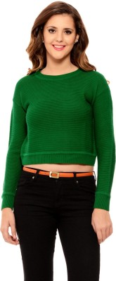 MSMB Solid Round Neck Casual Women's Green Sweater