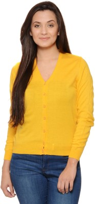 Fugue Solid V-neck Casual Women's Yellow Sweater