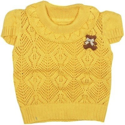 Icable Self Design Round Neck Casual, Party, Festive Baby Girl's Yellow Sweater