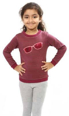 Bio Kid Checkered Round Neck Casual Girl's Pink Sweater