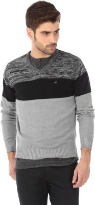 Basics Solid V-neck Casual Men's Grey Sweater