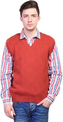 Priknit Self Design V-neck Casual Men's Red Sweater