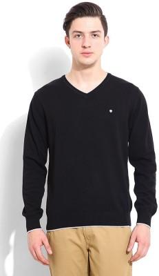 Blackberrys Solid V-neck Casual Men's Black Sweater