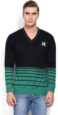 COBB Striped V-neck Men's Black Sweater