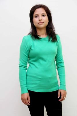 IKL Solid Round Neck Women's Green Sweater
