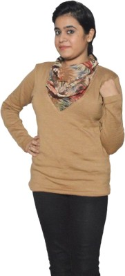 Folks Fashion Woven Round Neck Women,s Brown Sweater