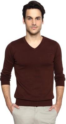 Van Heusen Solid V-neck Casual Men's Brown Sweater