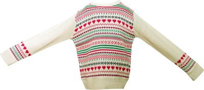 Parv Collections Striped Round Neck Casual Girl's White Sweater