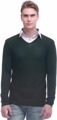 Jogur Self Design V-neck Men's Green Sweater