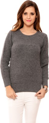 MSMB Solid Round Neck Casual Women's Grey Sweater