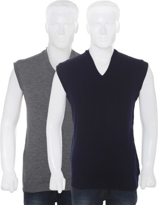 Vivek Solid V-neck Casual Men's Reversible Grey, Dark Blue Sweater