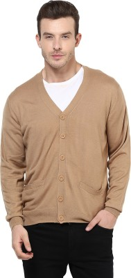 Yepme Solid V-neck Casual Men,s Brown Sweater