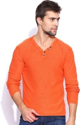 HRX by Hrithik Roshan Solid V-neck Casual Men's Orange Sweater