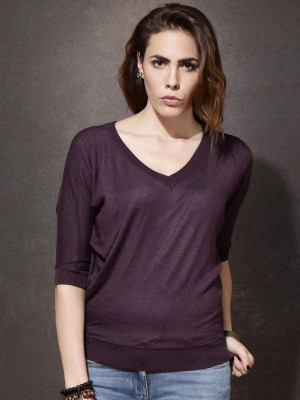 Roadster Solid V-neck Casual Women's Purple Sweater