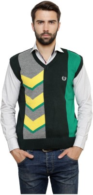 Leebonee Geometric Print V-neck Casual Men's Green Sweater