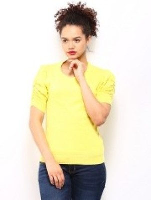 Dressberry Solid Round Neck Casual Women's Yellow Sweater