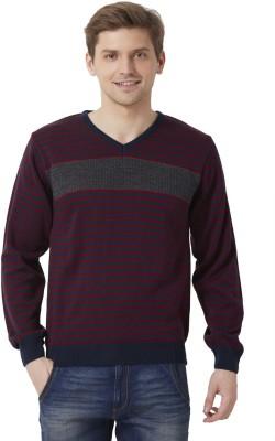 Peter England Striped V-neck Men's Maroon Sweater